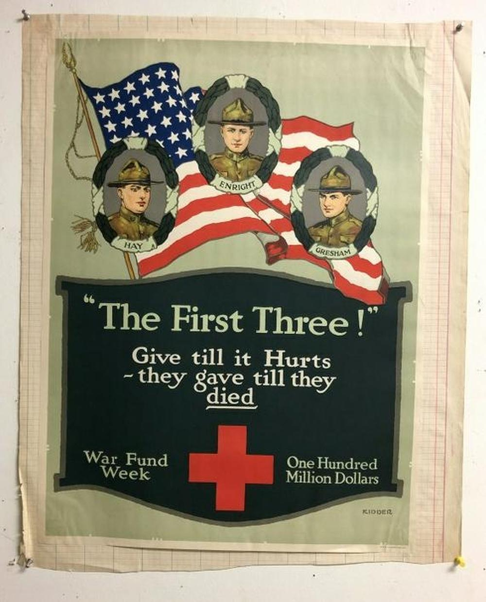 "WW I POSTER THE FIRST THREE, MEASURES 27 1/2"" X 20"