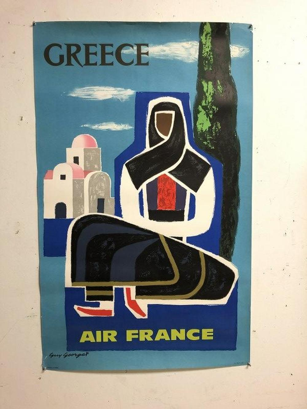 AIR FRANCE GREECE TRAVEL POSTER, 1963, HAS SOME BORDER