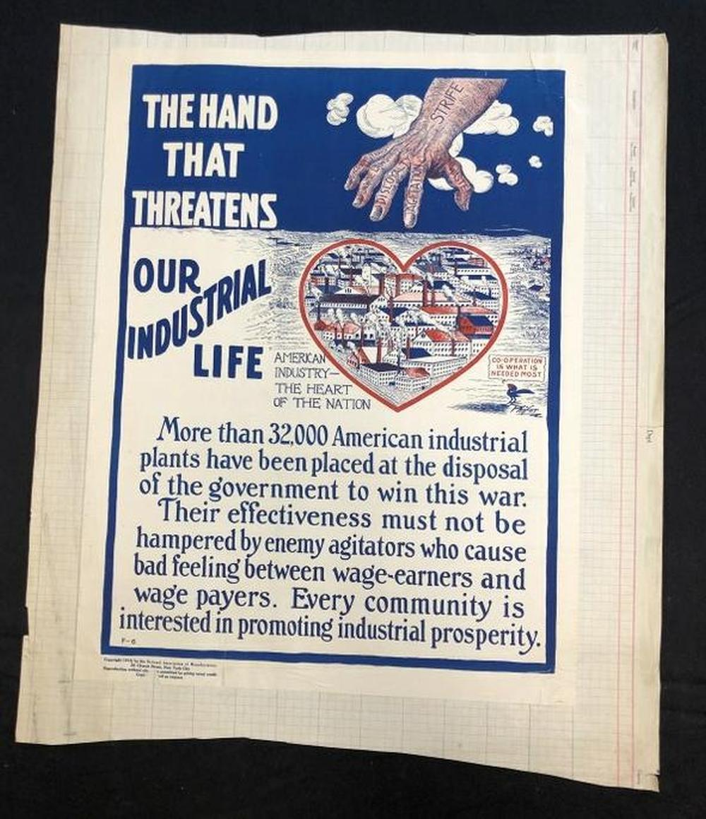 WW I POSTER THE HAND THAT THREATENS OUR INDUSTRIAL