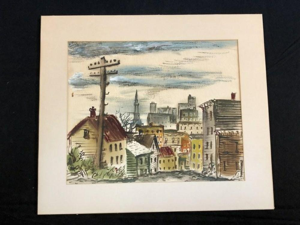 1940'S W/COLOR DOWNTOWN ALBANY, NEW YORK, UNSIGNED,