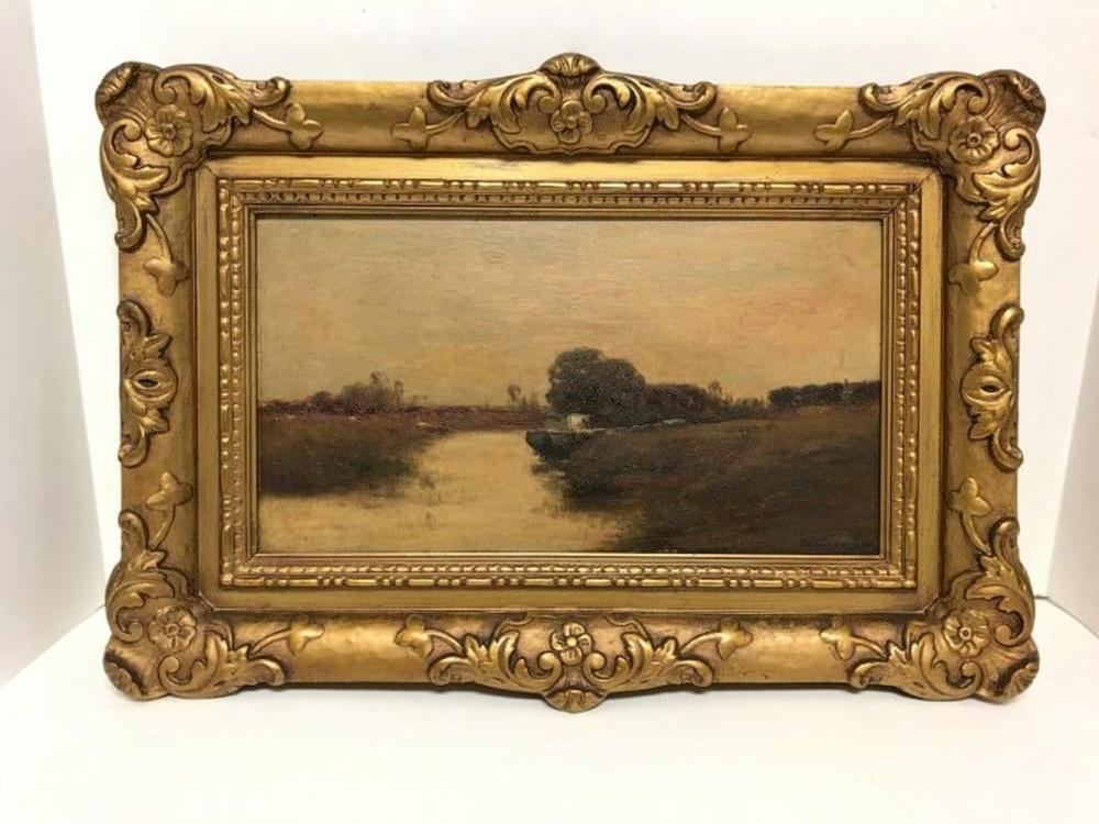 EDWARD GAY IMPRESSIONIST O/WOOD PANEL LANDSCAPE WITH