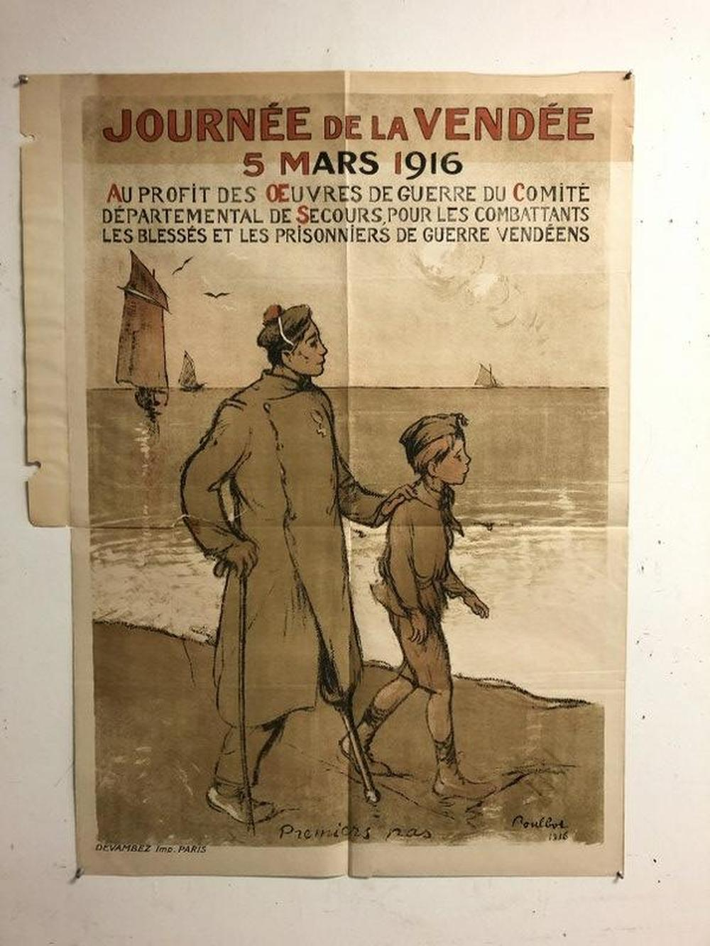 FRENCH WWI POSTER- JOURNEE DE LA VENDEE, 5 MARS 1916,