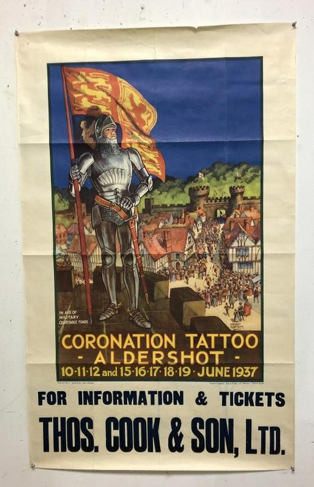 BRITISH POSTER- CORONATION TATTOO-ALDERSHOT, JUNE 1937,