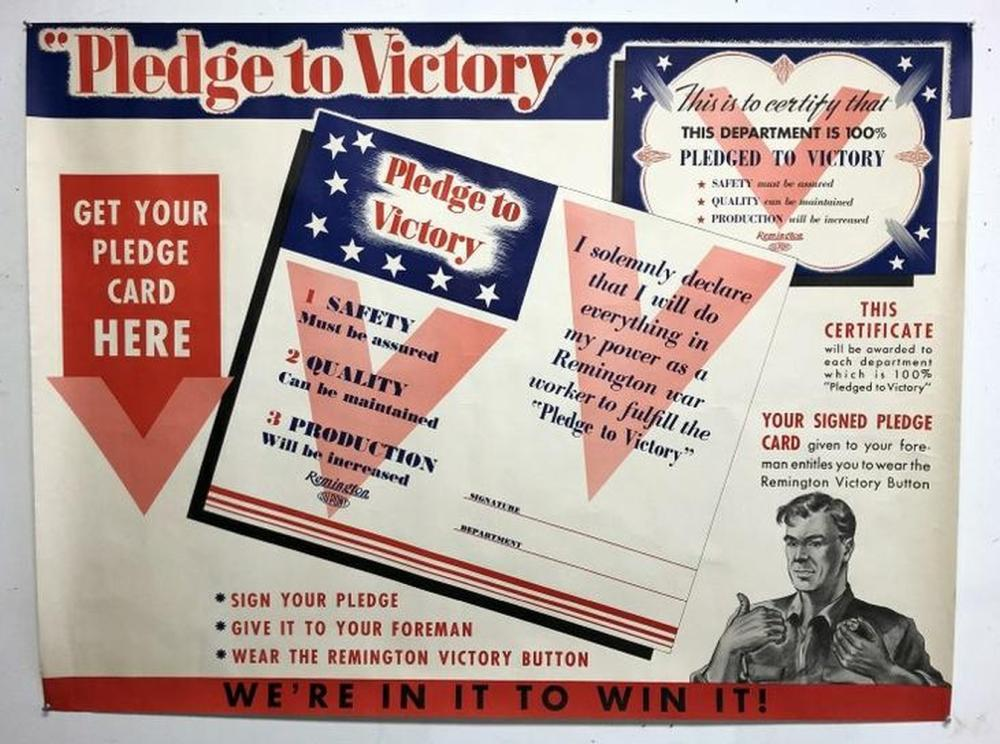 WWII POSTER- PLEDGE TO VICTORY, WE