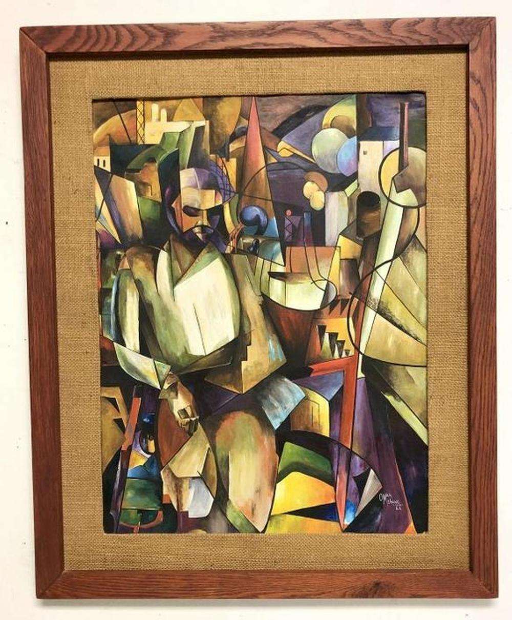 OMAR MEBANE CUBIST W/C WITH FIGURE IN FOREGROUND,