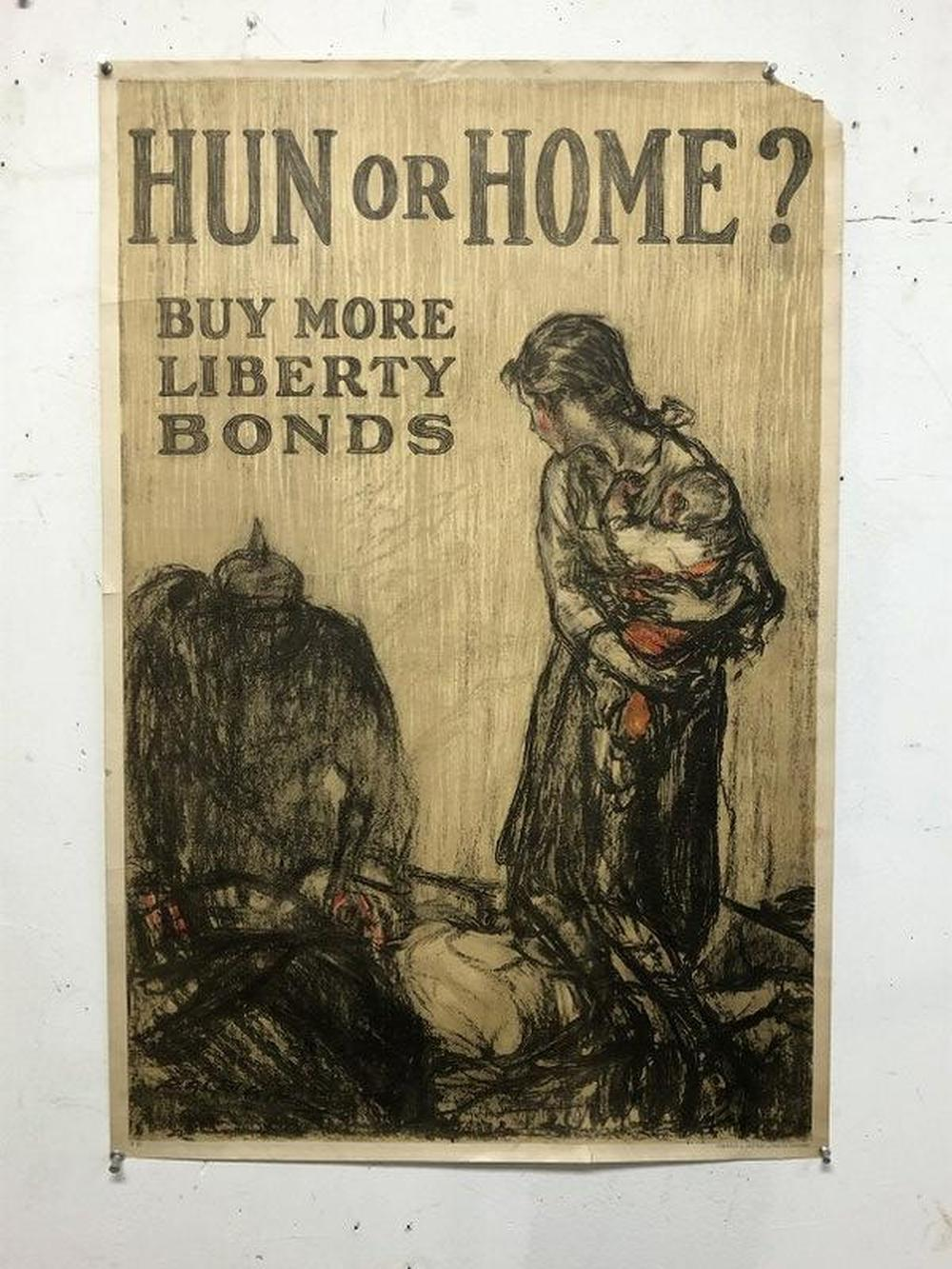 WWI POSTER- HUN OR HOME? BUY MORE LIBERTY BONDS,