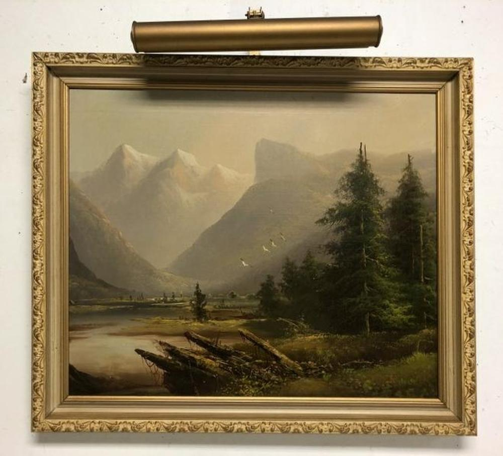 CIRCA 1940 O/B LANDSCAPE, UNSIGNED, WITH WATER IN