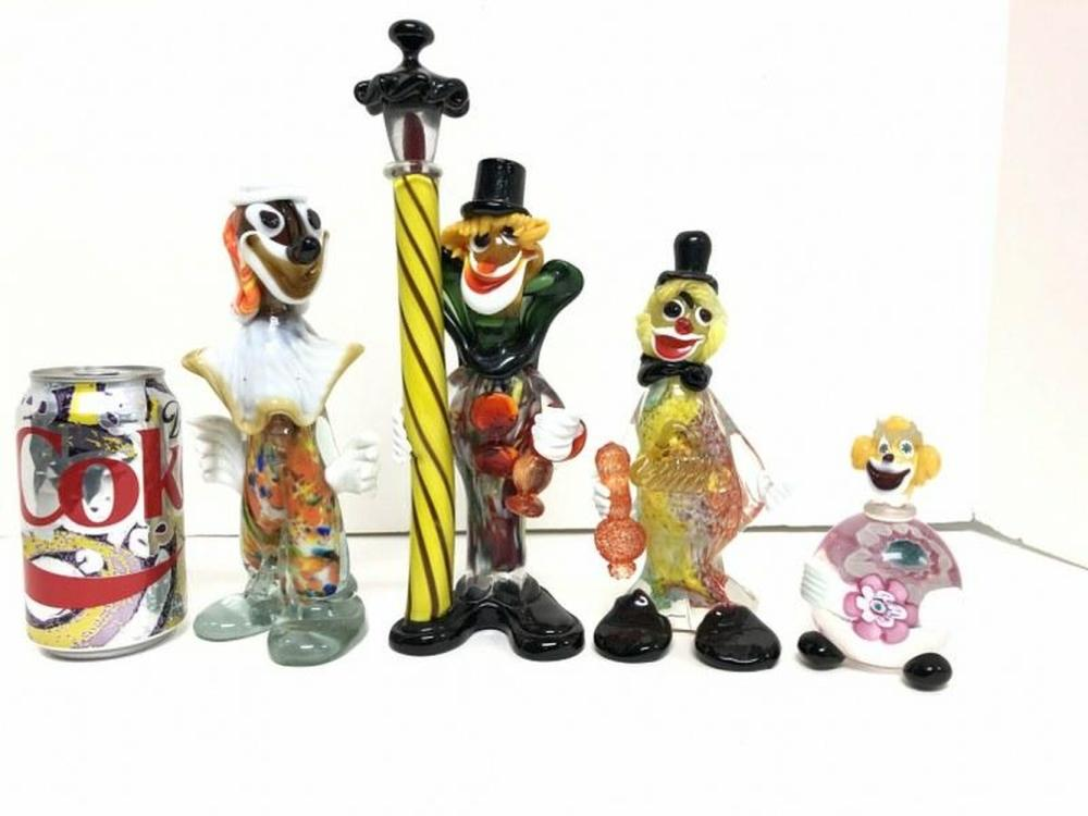 (4) MURANO ART GLASS 1950'S CLOWNS, TALLEST MEASURES 10