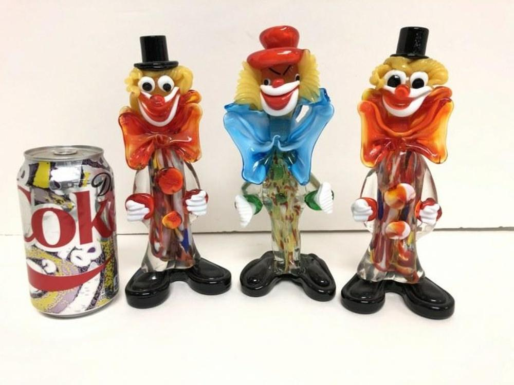 (3) MURANO GLASS 1950'S CLOWNS, NICE ESTATE FOUND