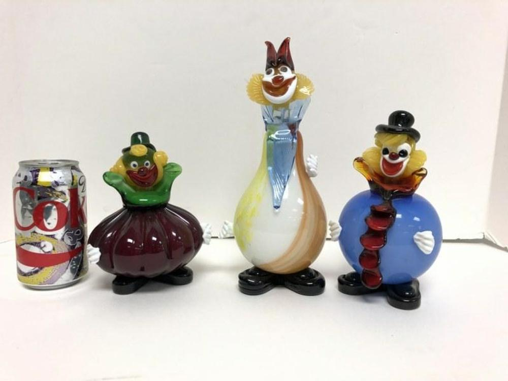 (3) MURANO 1950'S ROUND BODY CLOWNS, IN NICE ESTATE