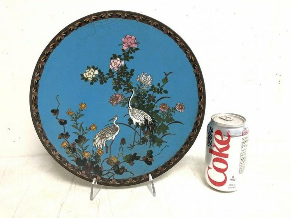 "EARLY CLOISONNE 12"" PLATE WITH BIRDS AND FLOWERS,"