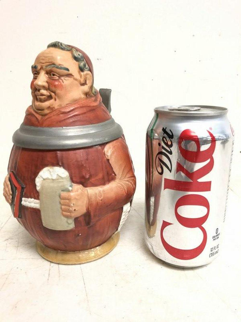 OLD FIGURAL GERMAN STEIN OF MONK HOLDING A BEER &