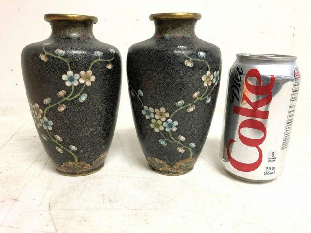 EARLY CLOISONNE PAIR OF VASES, BLACK BACKGROUND,