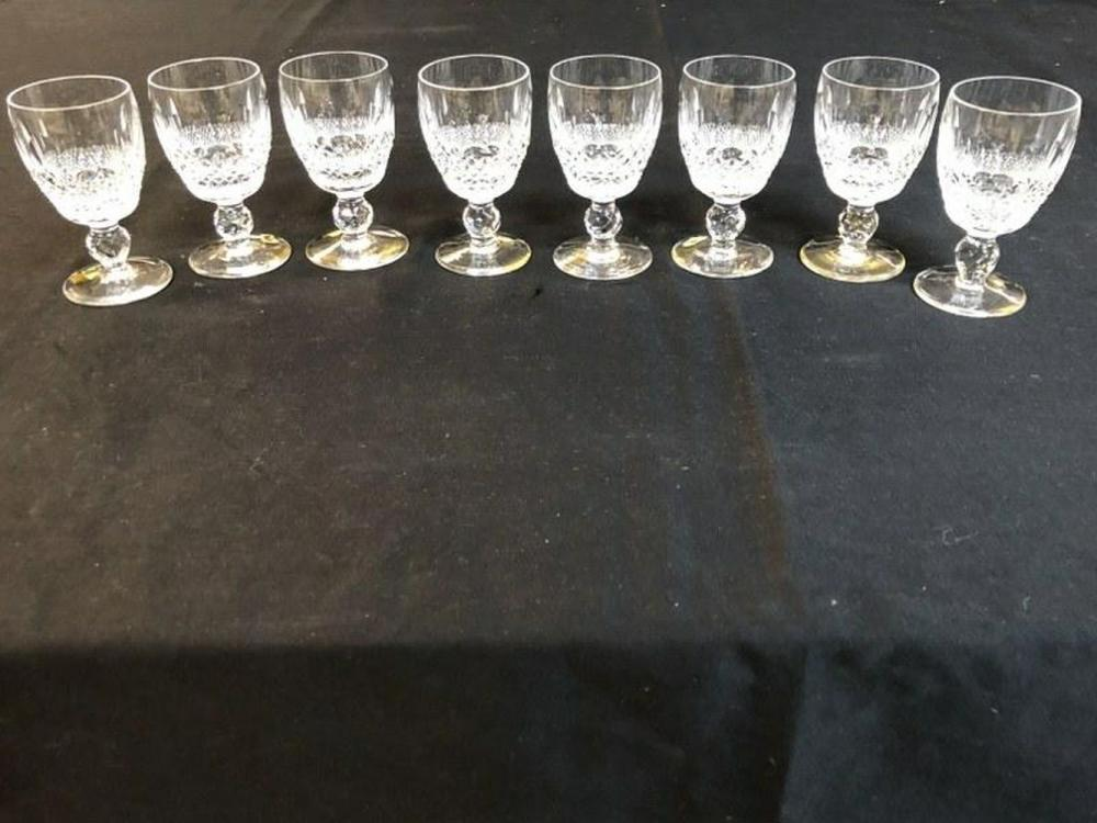 "8 WATERFORD COLLEEN PATTERN 4"" HIGH PORT WINE GLASSES,"