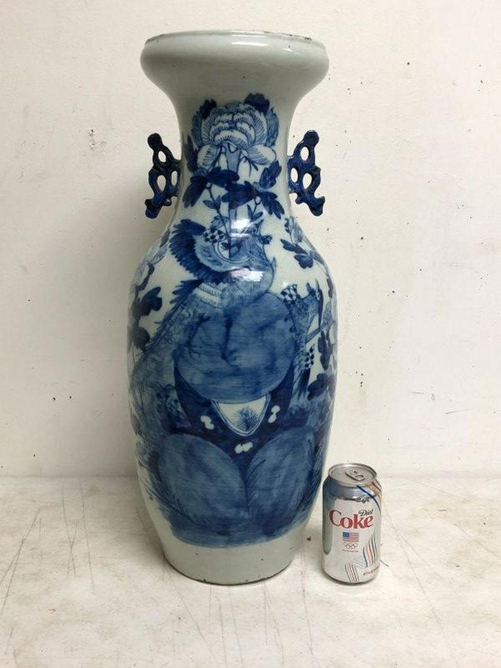 LARGE OLDER ASIAN BLUE & WHITE CERAMIC VASE W/FLOWERS