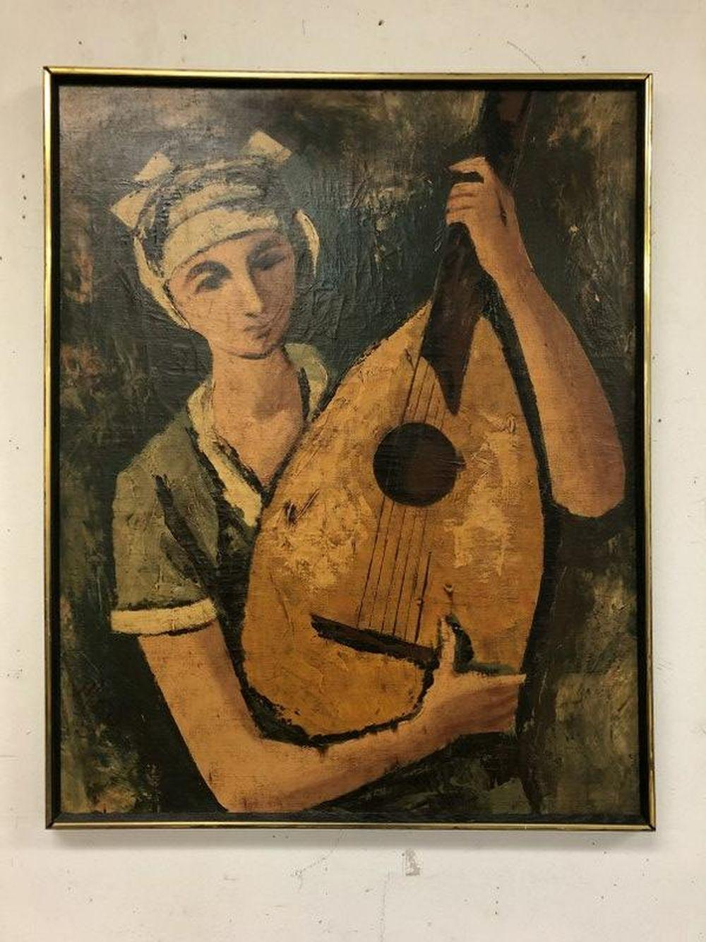 MID CENTURY O/C WOMAN PLAYING GUITAR SIGNED MOREL,
