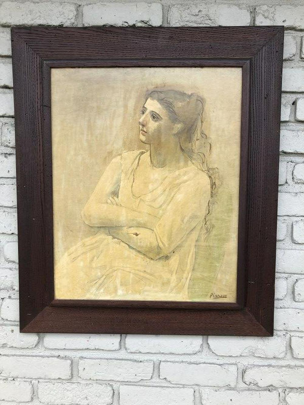 PICASSO PRINT OF WOMAN IN PERIOD MID CENTURY OAK FRAME,