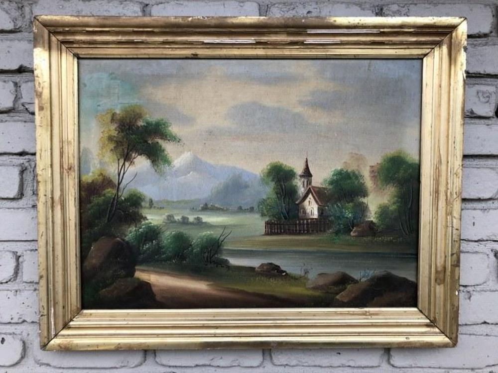 19TH CENTURY O/C LANDSCAPE W/BUILDING IN BACKGROUND IN