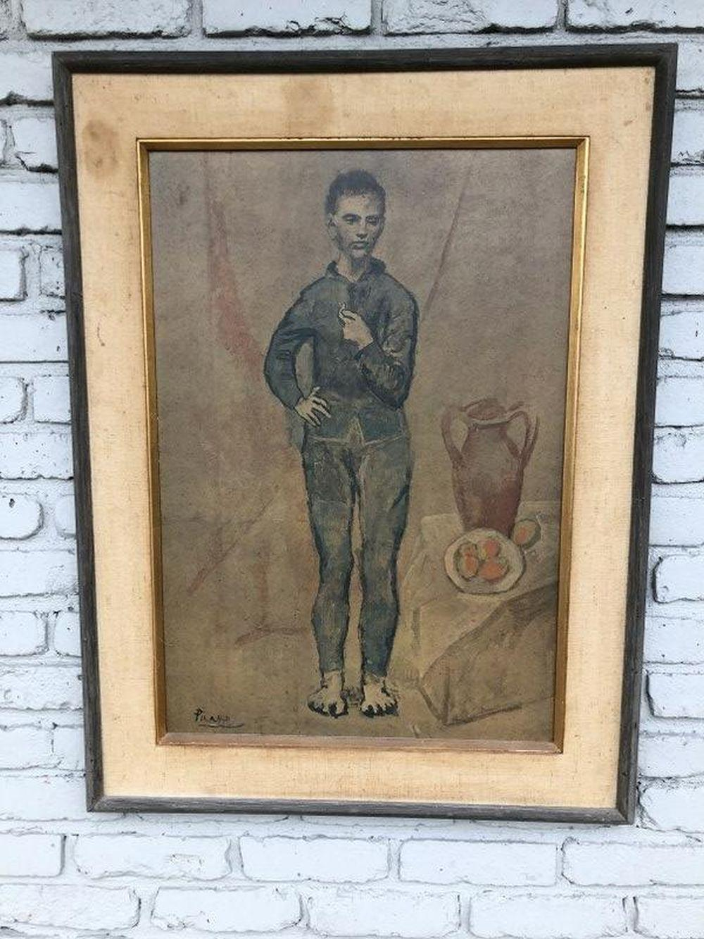 PICASSO MID CENTURY PRINT OF YOUNG MAN IN PERIOD MID