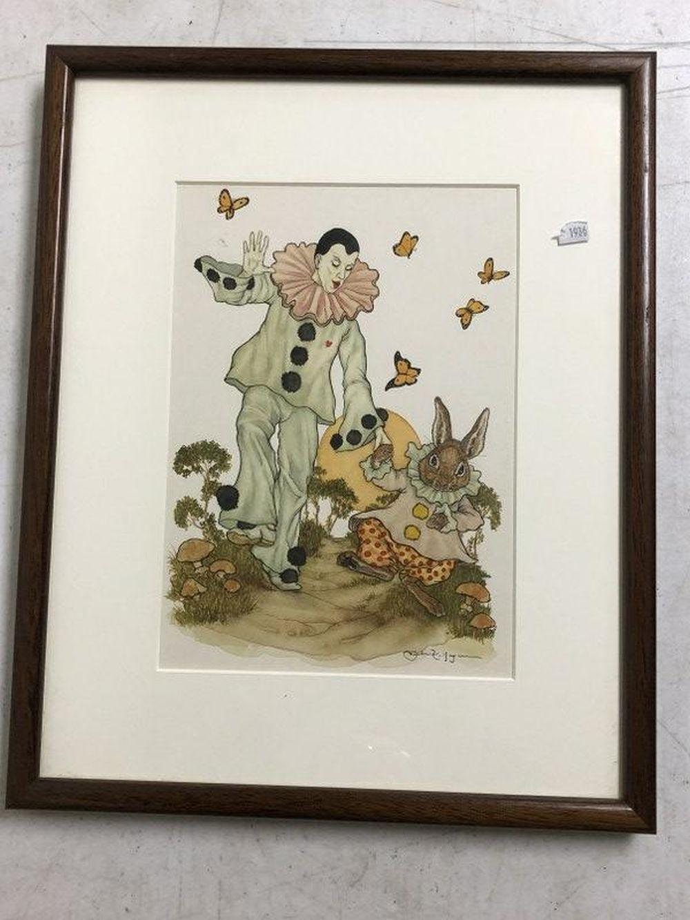 W/C HARLEQUIN WITH RABBIT ILLUSTRATION, SIGNED