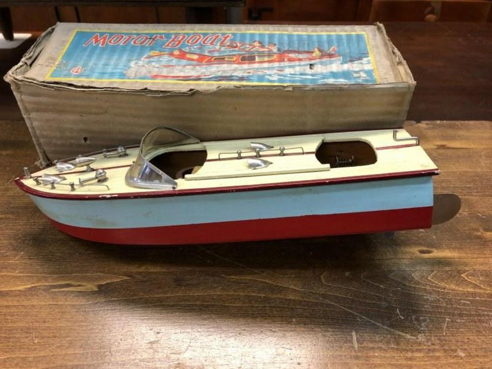 1950'S JAPAN WOOD MOTOR BOAT IN ORIGINAL BOX