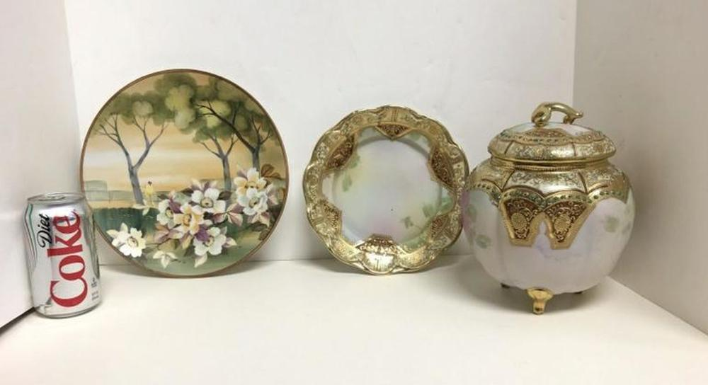 NIPPON ESTATE LOT COVERED BOWL & 2 PLATES