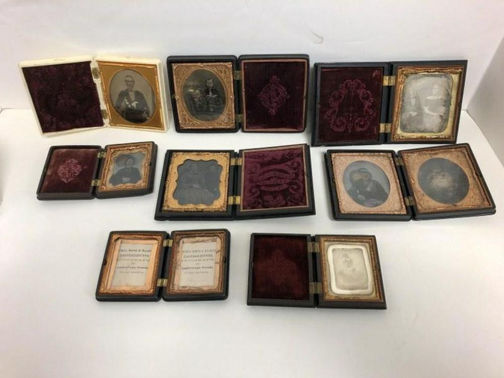 ESTATE LOT (8) DAGS, AMBROTYPES GUTTA PERCHA CASES