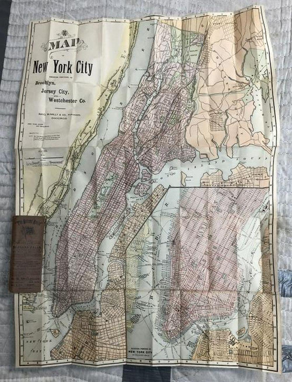 1892 RAND, MCNALLY & CO. FOLDING NEW YORK POCKET MAP