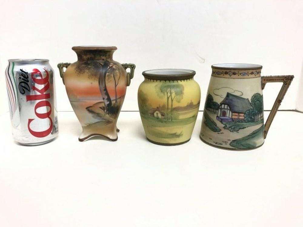 (3) NIPPON HAND PAINTED SCENIC VASES ESTATE CONDITION