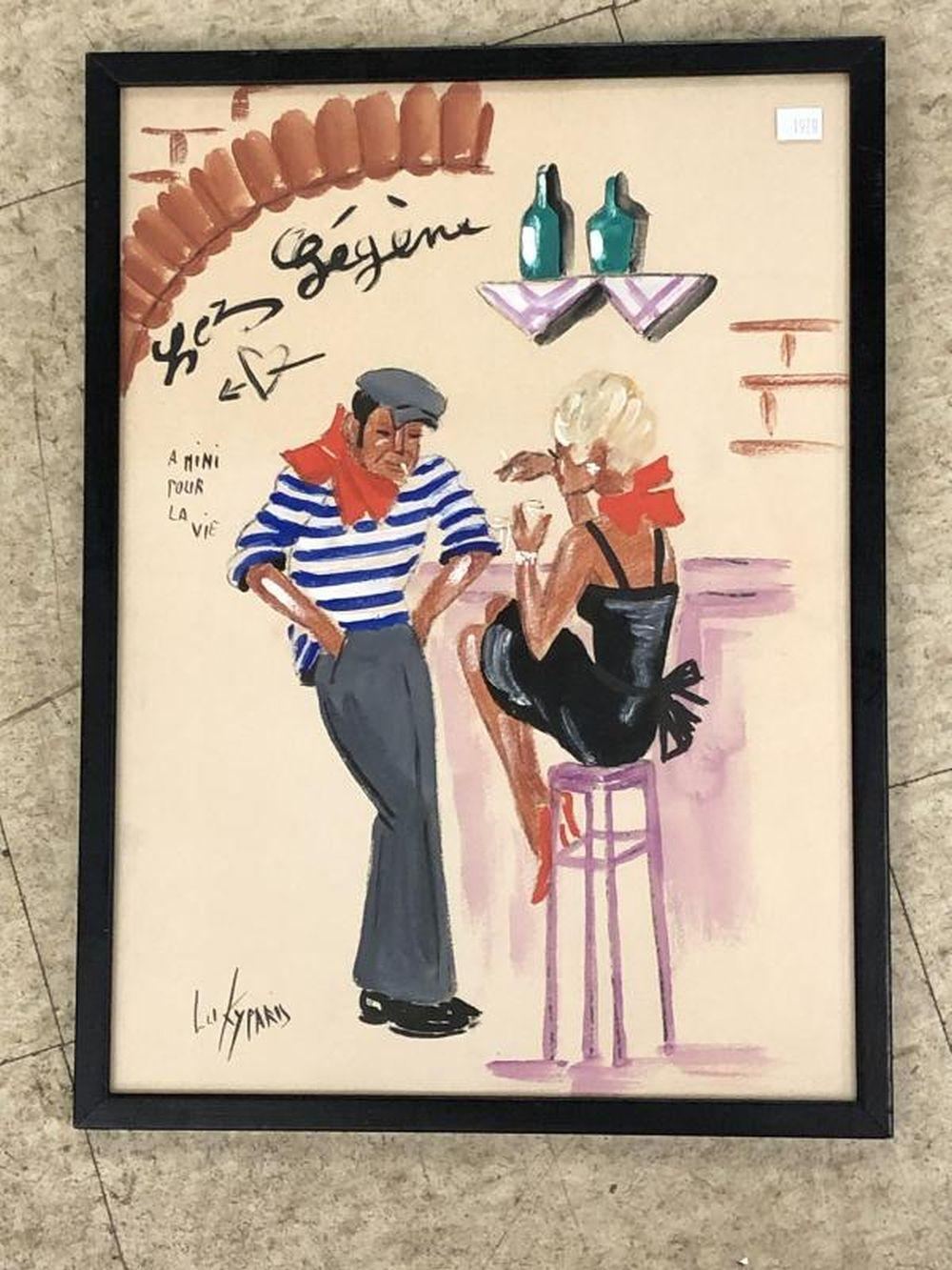 LUKY PARIS W/COLOR MAN & WOMAN IN BAR 1950