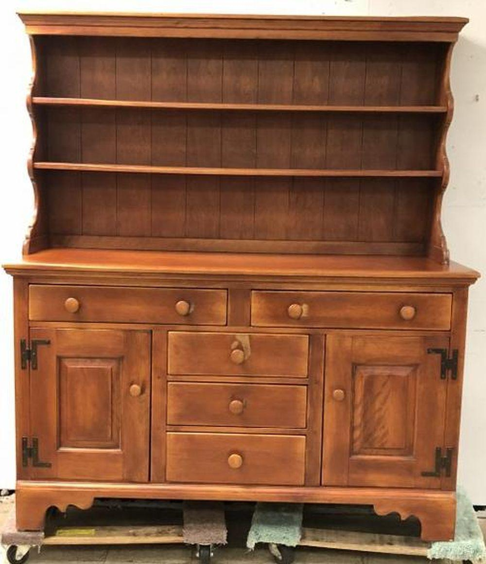 CUSHMAN MAPLE 2 PART HUTCH WITH OPEN SHELVES