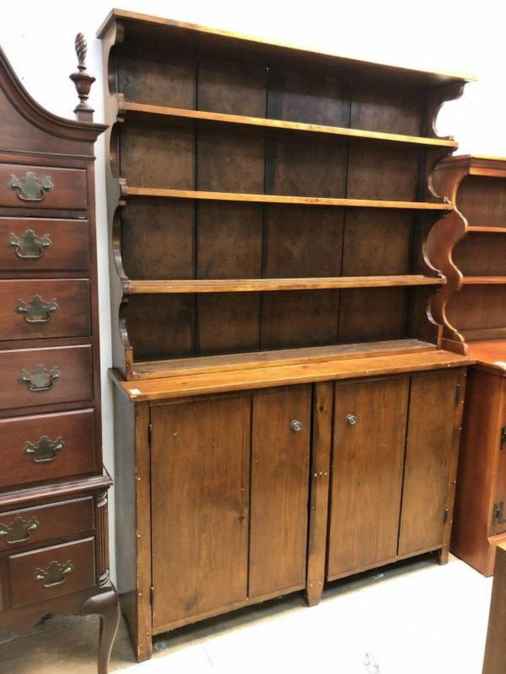 EARLY PINE COUNTRY OPEN TOP CUPBOARD HUDSON VALLEY