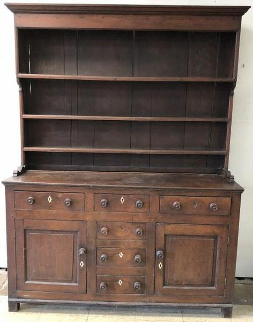 EARLY OAK 2 PART CUPBOARD OPEN HUTCH TOP