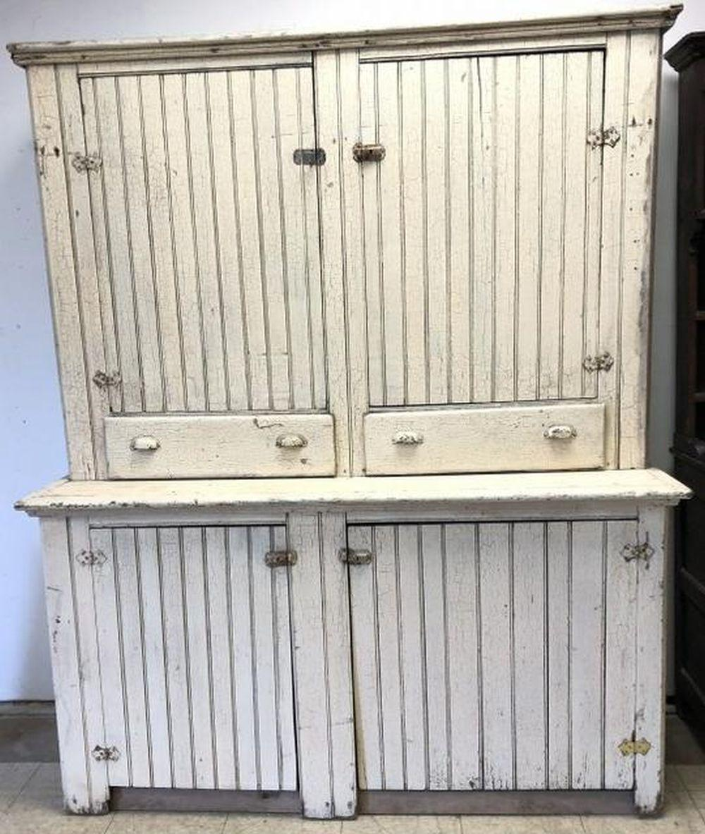 OLD COUNTRY 2 PART WHITE WAINSCOAT CUPBOARD