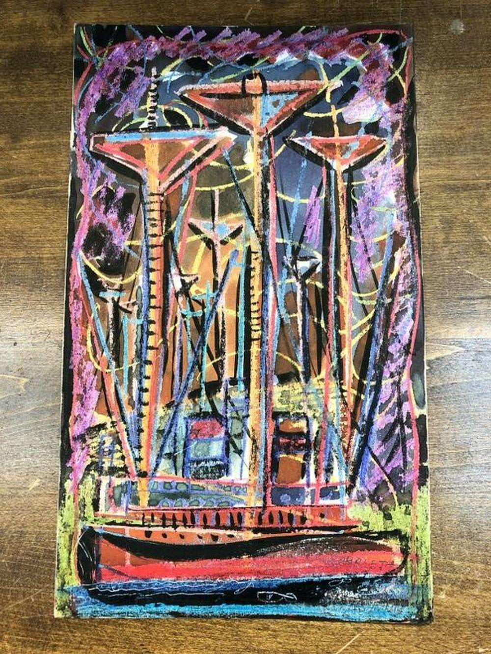 ROLPH SCARLETT W/C ABSTRACT WITH BOAT SIGNED