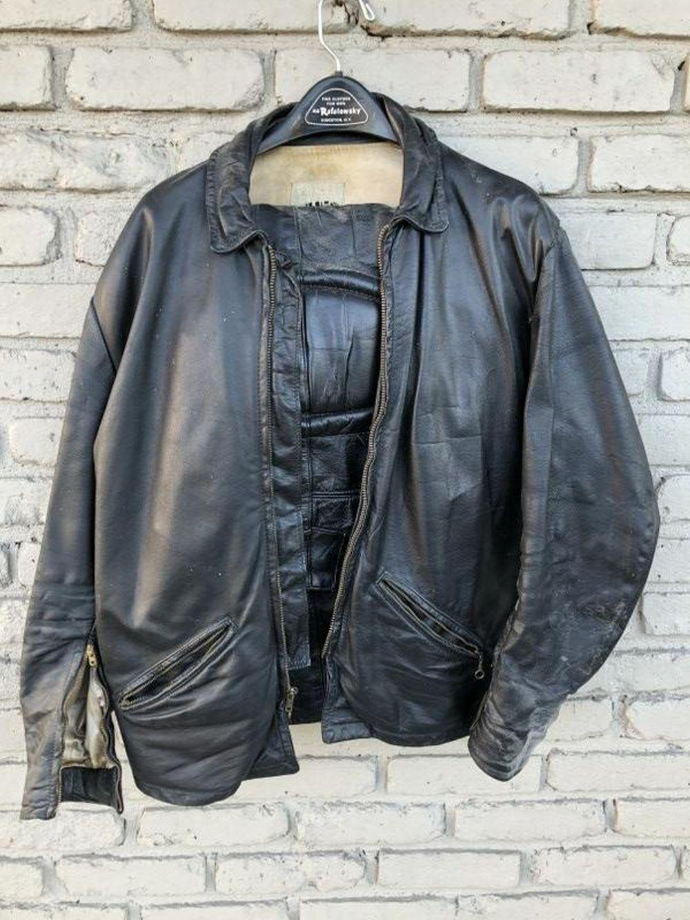 VINTAGE BLACK LEATHER MOTORCYCLE JACKET AND PANTS