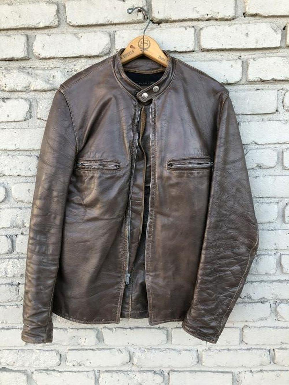 VINTAGE BROWN LEATHER MOTORCYCLE JACKET AND PANTS