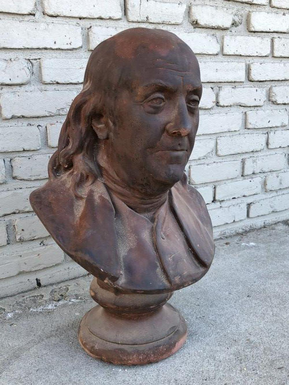 "HOUDON TERRA COTTA BUST OF BENJAMIN FRANKLIN 23"" HIGH"