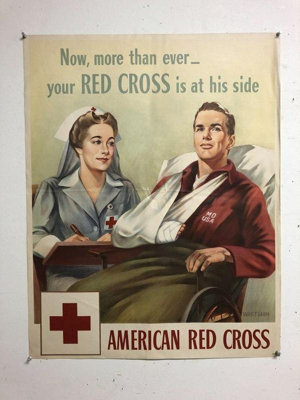 WWII AMERICAN RED CROSS POSTER, ARTIST IS WHITMAN, NICE