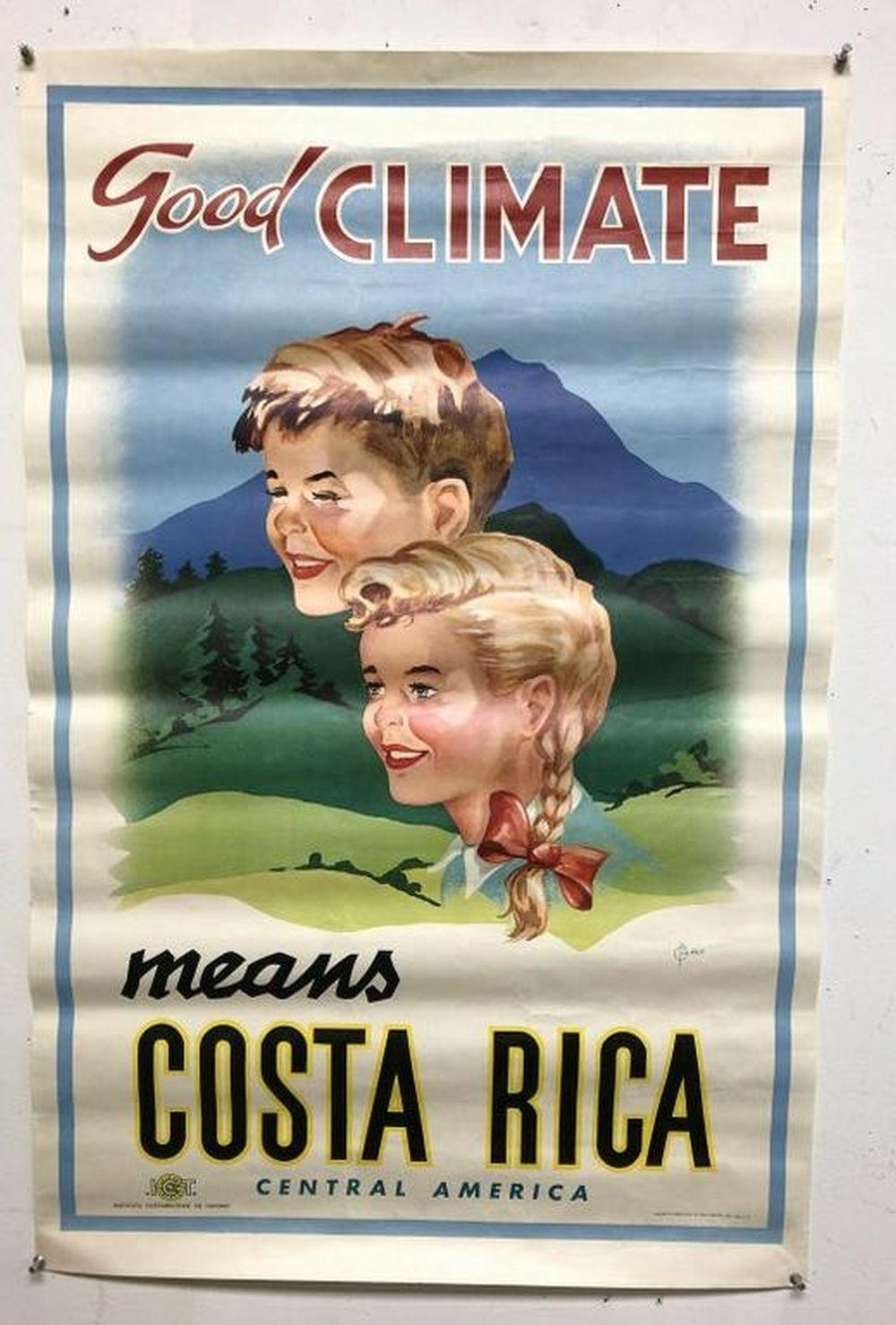 "COSTA RICA 1950'S TRAVEL POSTER, MEASURES 33"" X 21"