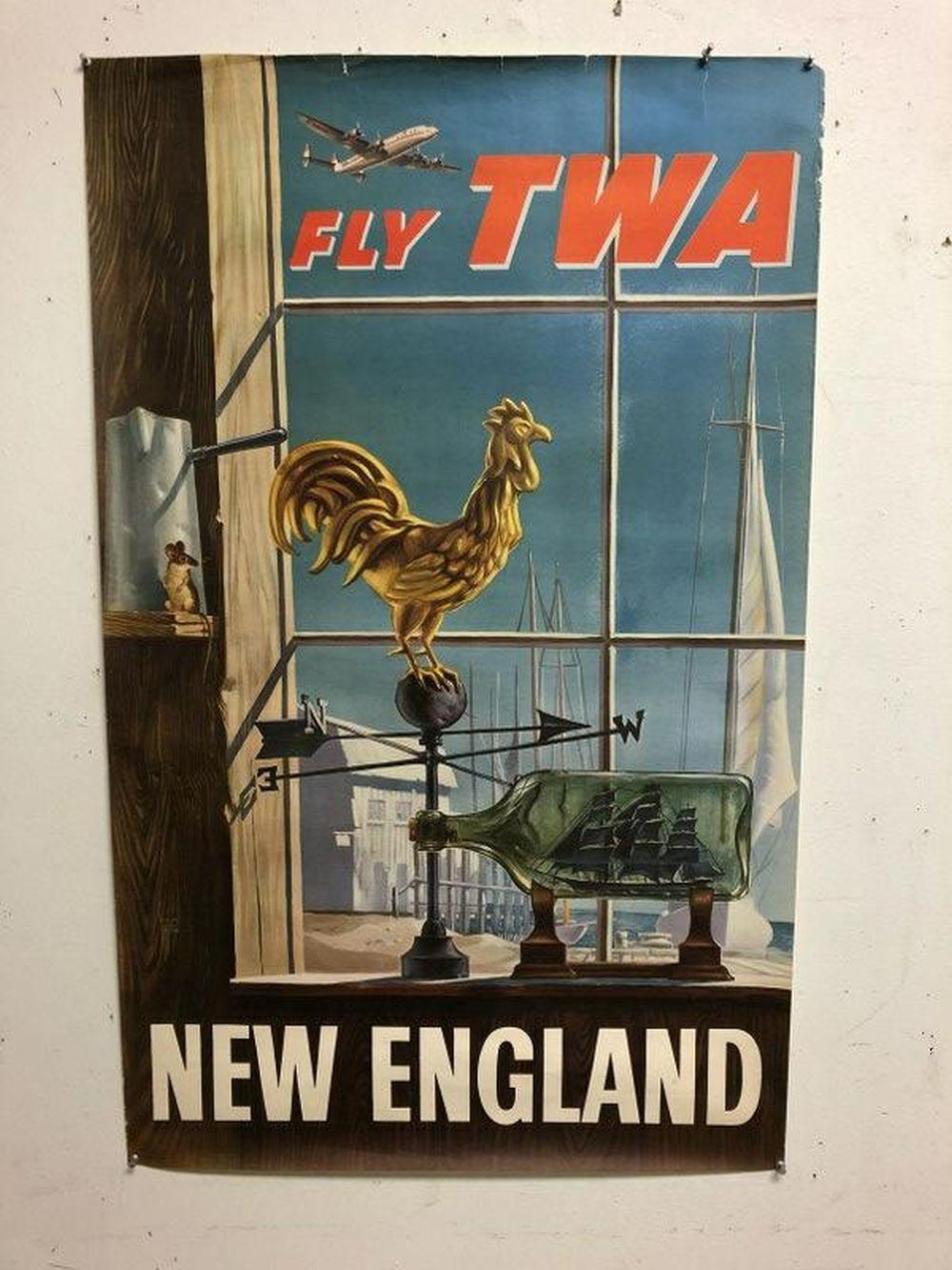 FLY TWA NEW ENGLAND, BORDER TEARS, ARTIST WILLIAM WARD