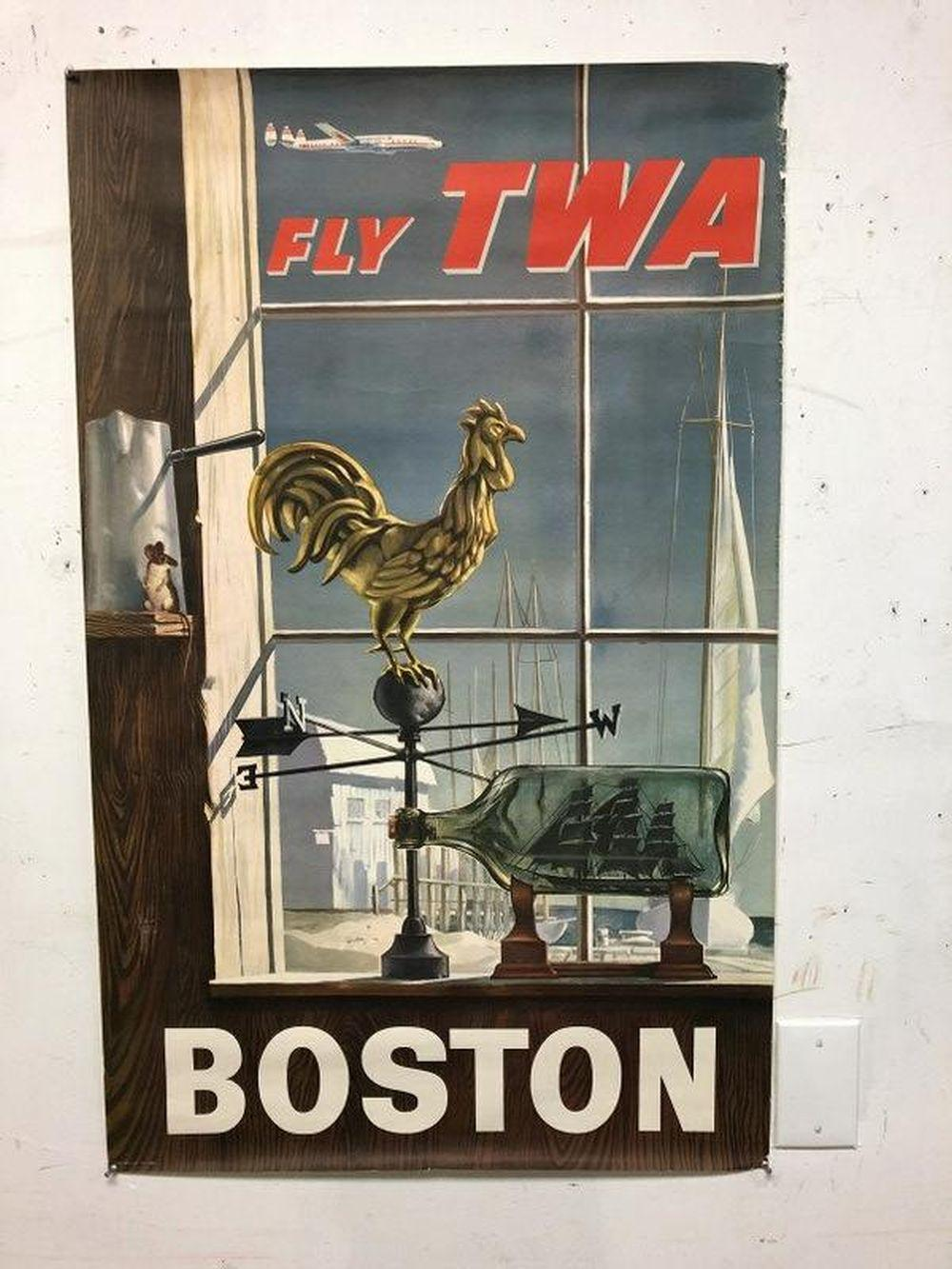 FLY TWA BOSTON 1950'S TRAVEL POSTER, ARTIST WILLIAM