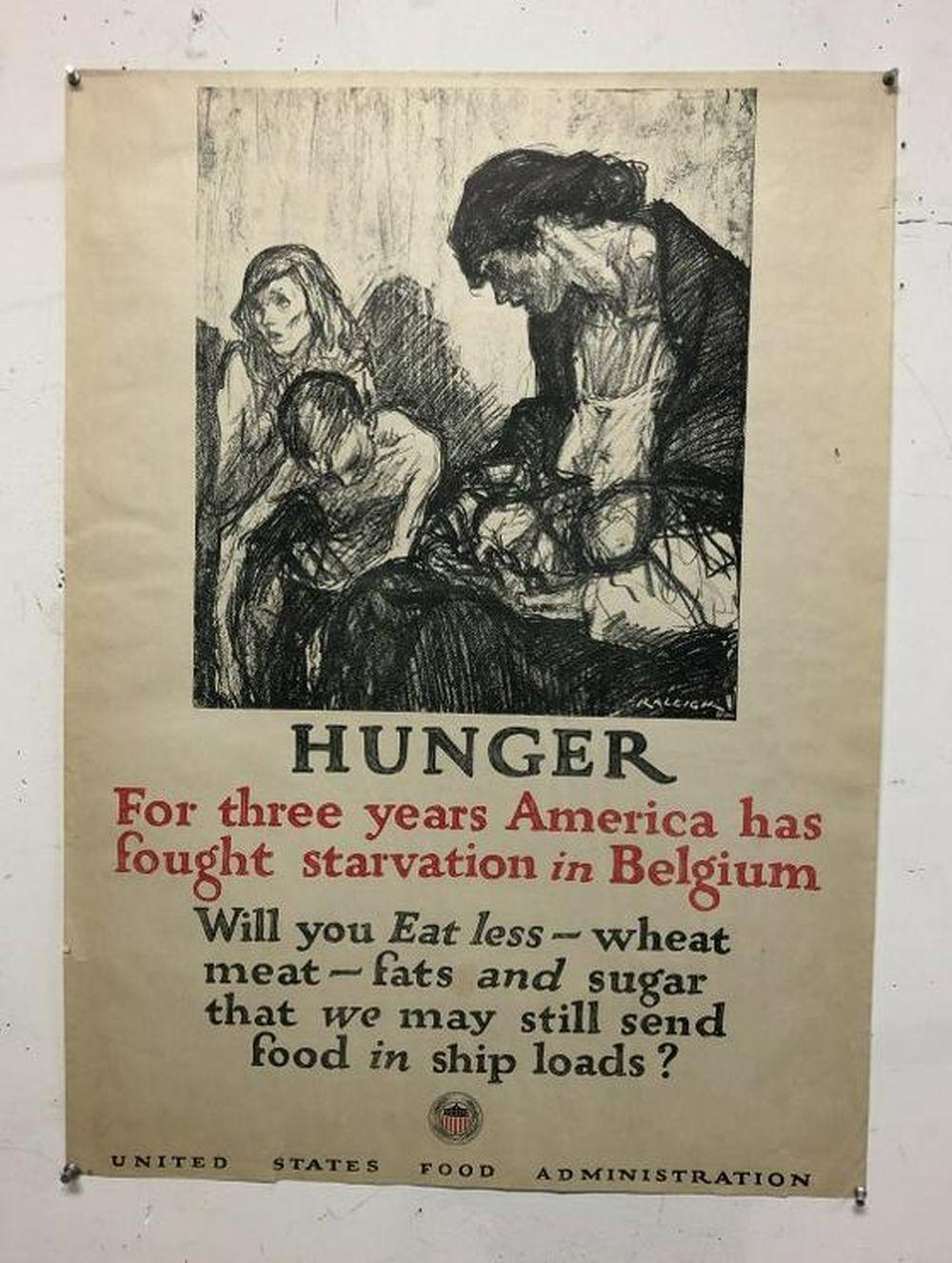 WWI HUNGER POSTER, ARTISIT IS RALEIGH, POSTER MEASURES
