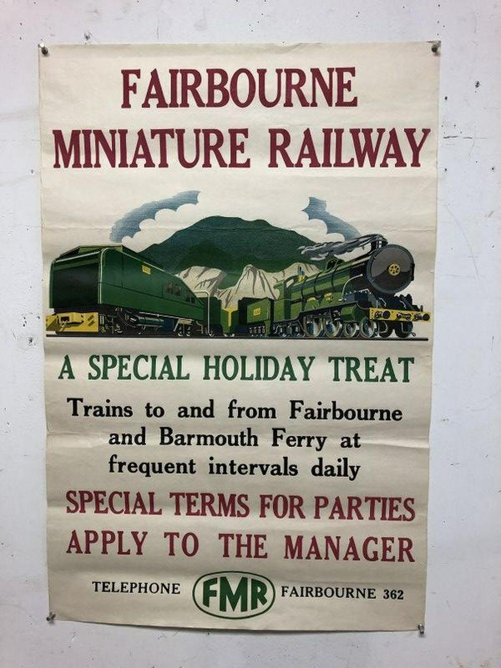 FAIRBOURNE MINIATURE RAILWAY POSTER, CIRCA 1950