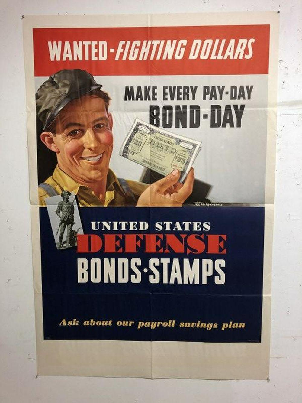 WWII POSTER-WANTED-FIGHTING DOLLARS, UNITED STATES