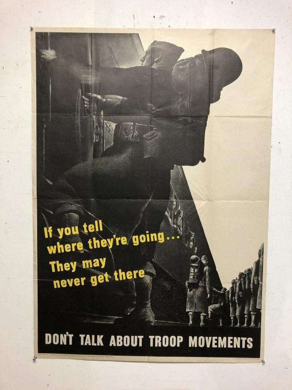 WWII POSTER-DON'T TALK ABOUT TROOP MOVEMENTS