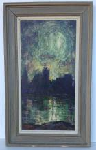"""Harry Shoulberg abstract o/c landscape, with buildings and water in background, signed lower left corner, canvas measures 30"""" x 15""""."""