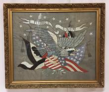 E Pluribus Unum - Eagle with American and German Flags