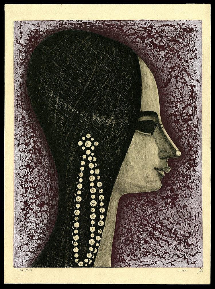 Shuzo Ikeda, No. 507: Profile of Woman with Pearls