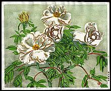 Original woodblock print by Okiie Hashimoto, White Peonies